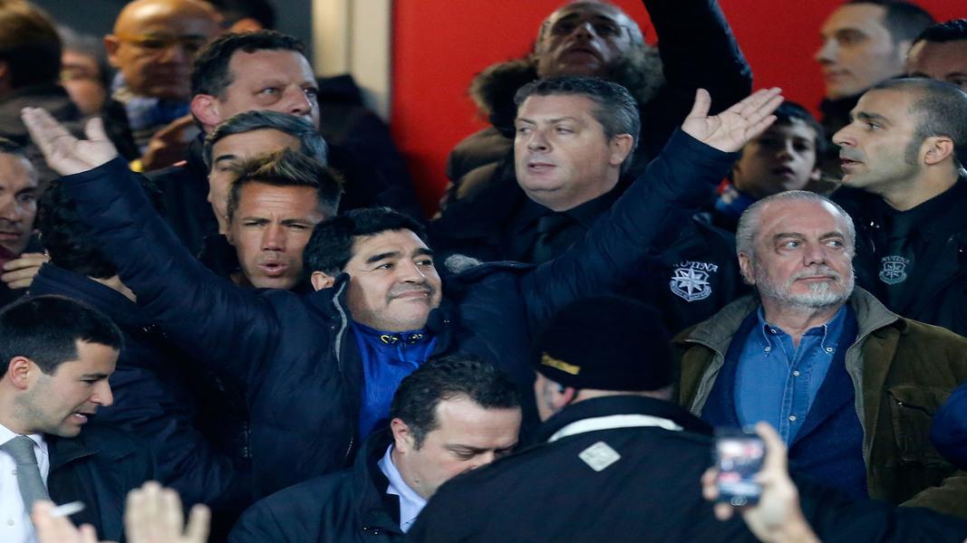 Maradona al San Paolo con De Laurentiis